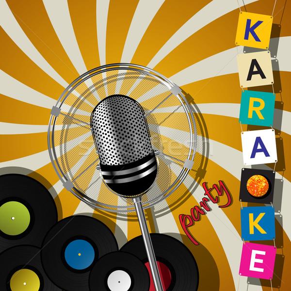 Karaoke festa projeto cartão microfone eventos Foto stock © lirch
