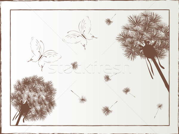 Dandelion borboleta flor natureza projeto silhueta Foto stock © lirch