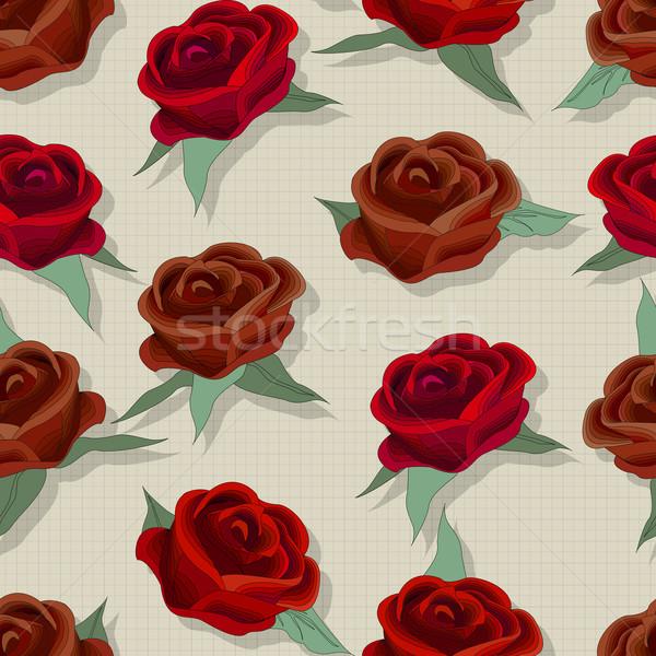 Retró stílus rózsa minta végtelenített divattervezés virág Stock fotó © lirch