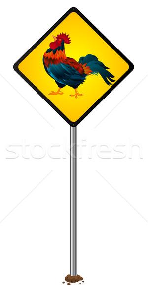 Stockfoto: Aandacht · trots · haan · gestileerde · verkeersbord · geïsoleerd