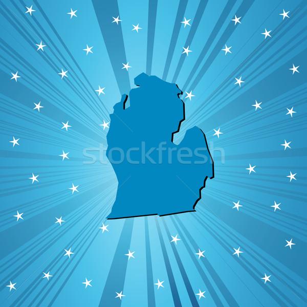 Kék Michigan térkép absztrakt Stock fotó © lirch