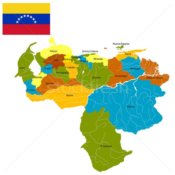 Venezuela részletes térkép zászló izolált tárgyak Stock fotó © lirch