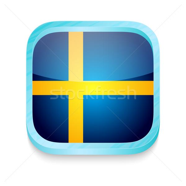 Pulsante Svezia bandiera telefono frame Foto d'archivio © lirch