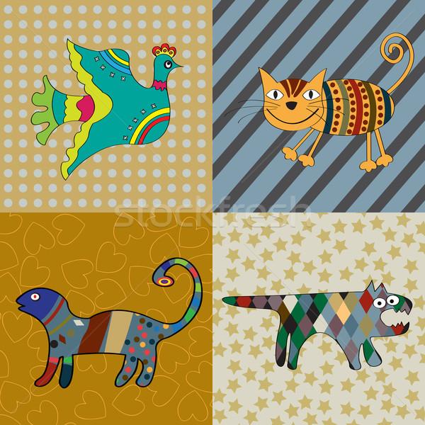 Saf sanat sevimli hayvanlar örnek kedi dizayn Stok fotoğraf © lirch