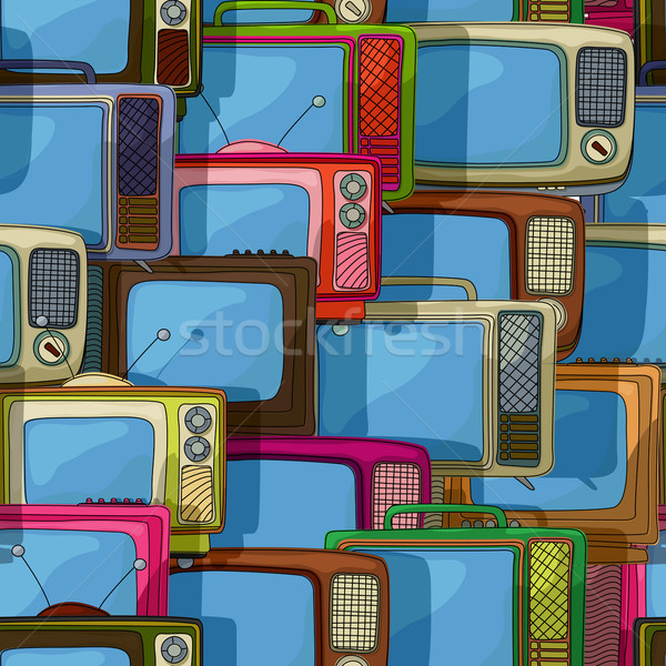 Naadloos tv patroon televisie retro-stijl mode Stockfoto © lirch