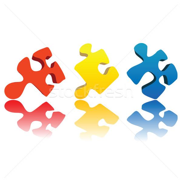 Puzzel drie puzzelstukjes witte achtergrond succes Stockfoto © lirch