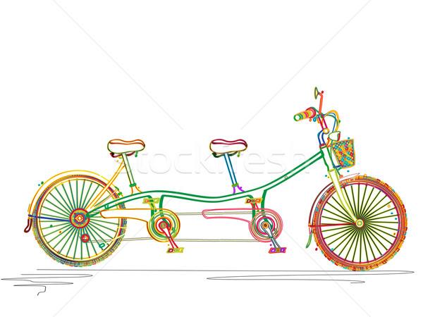 тандем велосипед цветами стилизованный дизайна Сток-фото © lirch