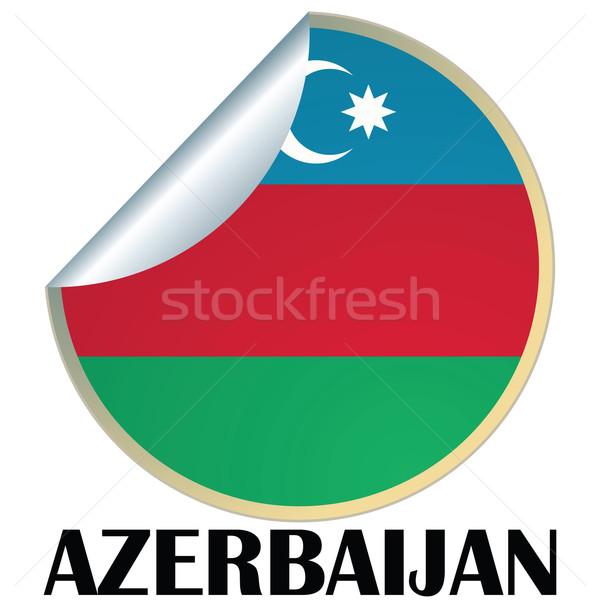 Azerbaiyán etiqueta bandera diseno signo placa Foto stock © lirch