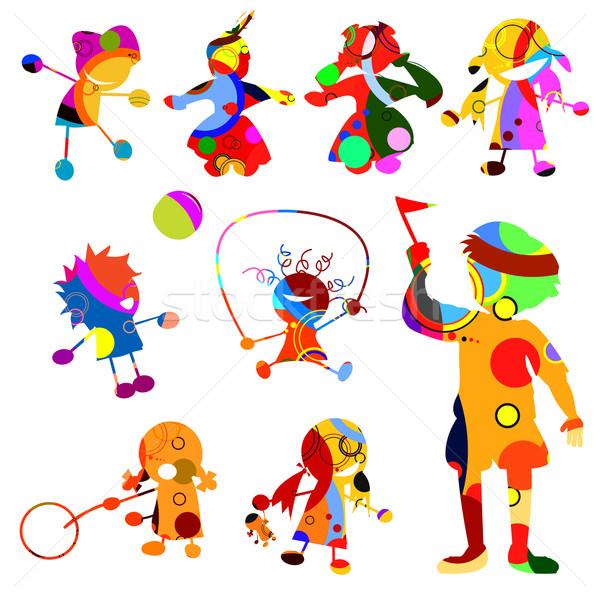 Siluetleri çocuklar spor çocuk grup eğlence Stok fotoğraf © lirch