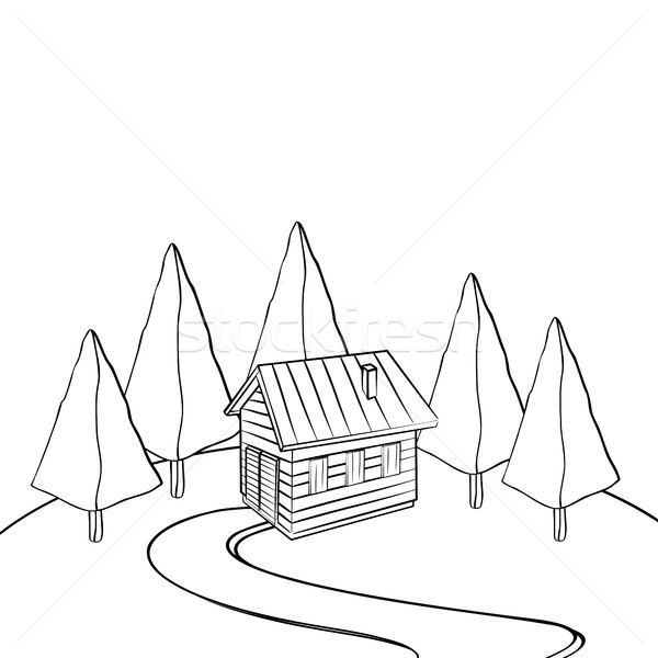 Cabina bosques dibujado a mano boceto blanco negro casa Foto stock © lirch