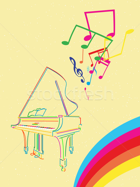 Pianoforte a coda note musicali classica sketch Rainbow abstract Foto d'archivio © lirch