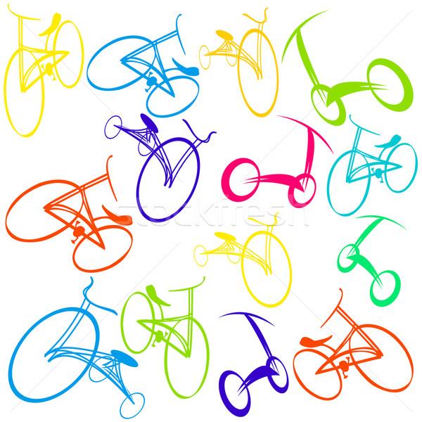 Bikes bicicletta scarabocchi tecnologia arte Foto d'archivio © lirch
