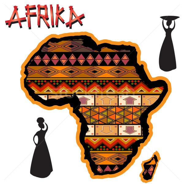 ストックフォト: アフリカ · 伝統的な · 地図 · アフリカ · 大陸 · カバー