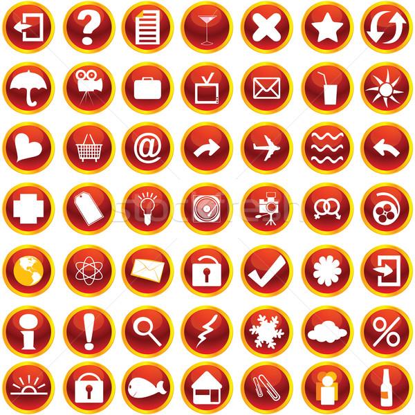 Web internet pictogrammen ingesteld witte computer Stockfoto © lirch