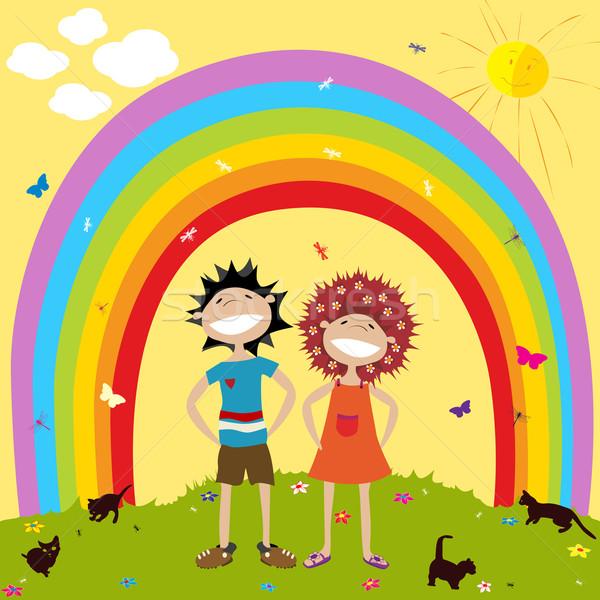 Gökkuşağı çocuklar gülen çift gökyüzü gülümseme Stok fotoğraf © lirch