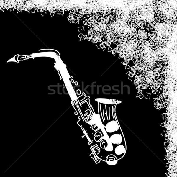 Grunge jazz carte résumé noir saxophone Photo stock © lirch