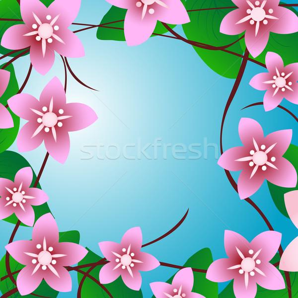 Cereja árvore flores quadro ilustração beleza Foto stock © lirch