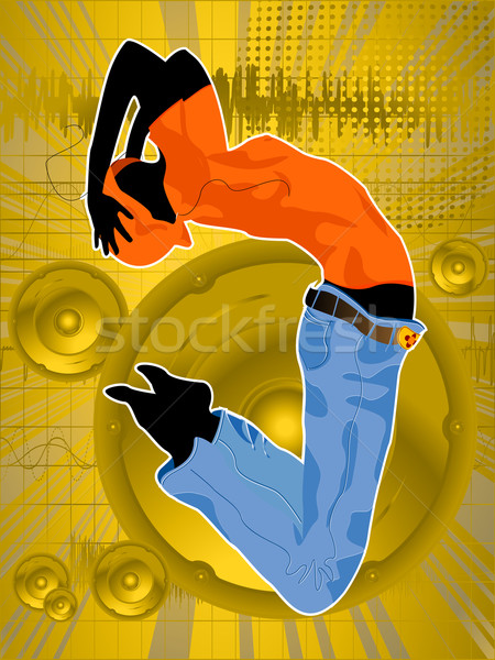 Stock fotó: őrült · tánc · tánc · lány · sziluett · absztrakt