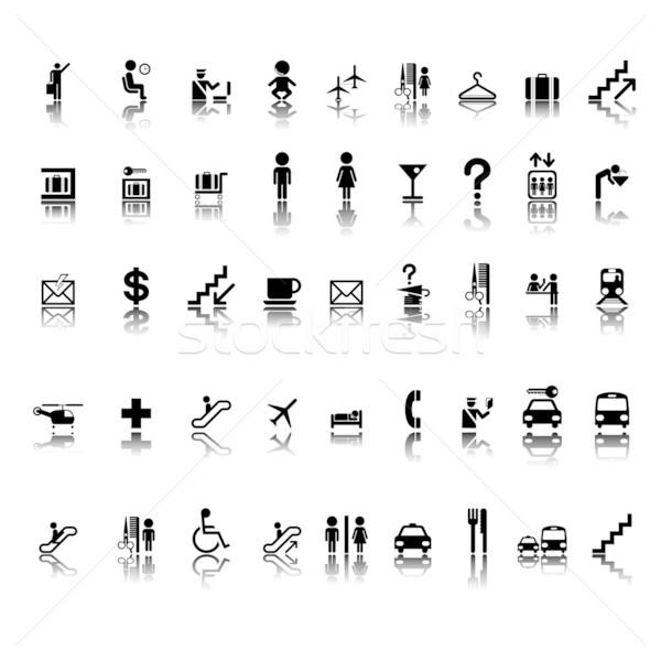 Luchthaven pictogrammen ingesteld pictogram stickers geïsoleerd Stockfoto © lirch