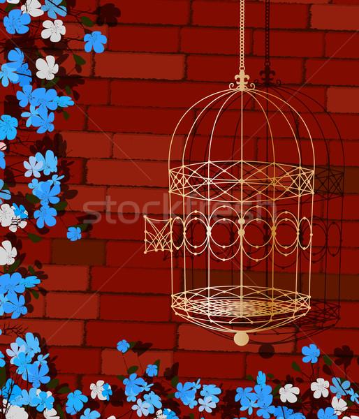 Abierto jaula ilustración dorado flores Foto stock © lirch