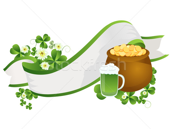 St Patricks Day Band dekorativ Bier Pint Topf Stock foto © lirch
