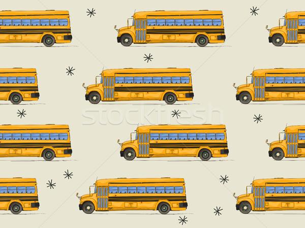 Okula geri otobüs model dizayn soyut Stok fotoğraf © lirch