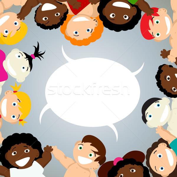 Kids with speech bubble Stock photo © lirch
