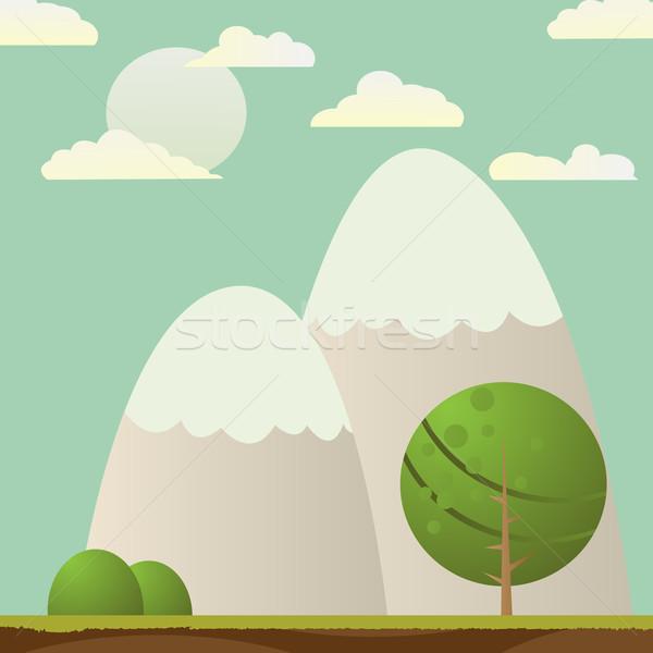 Stockfoto: Landschap · boom · bergen · abstract · kaart · zon