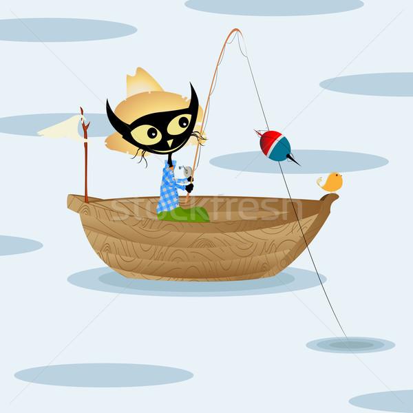 Cat pesca cartoon arte felice sport Foto d'archivio © lirch