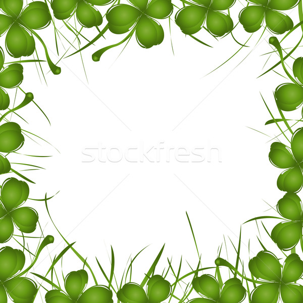 four leaves clover and grass frame Stock photo © lirch