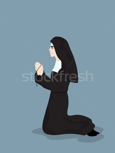 Pregando suora cartoon stile disegno cross Foto d'archivio © lirch