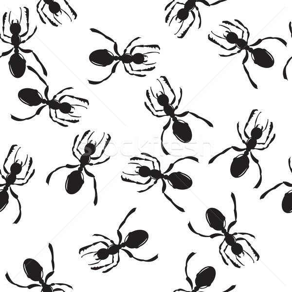 муравей шаблон бесшовный черный Сток-фото © lirch