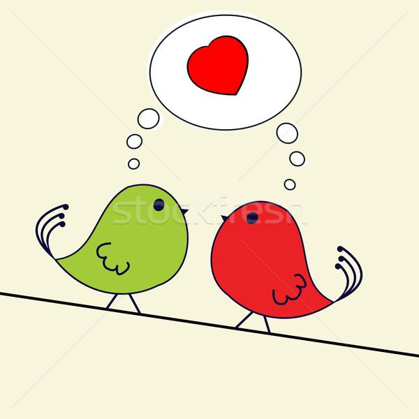 Foto stock: Valentine · saudação · cartão · dois · aves · arame