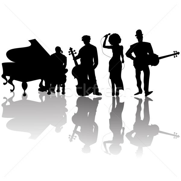 Jazz jugadores siluetas blanco diseno hombres Foto stock © lirch