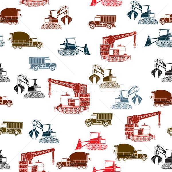 Stock fotó: építkezés · járművek · minta · végtelen · minta · szín · fehér