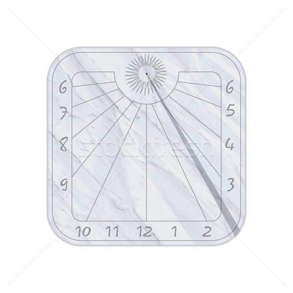 Zegar słoneczny ikona biały streszczenie tle retro Zdjęcia stock © lirch