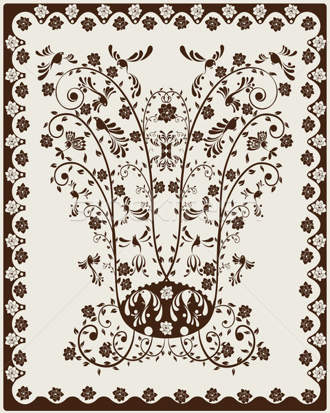 Art noveau decorativo floral estilizado aves quadro Foto stock © lirch