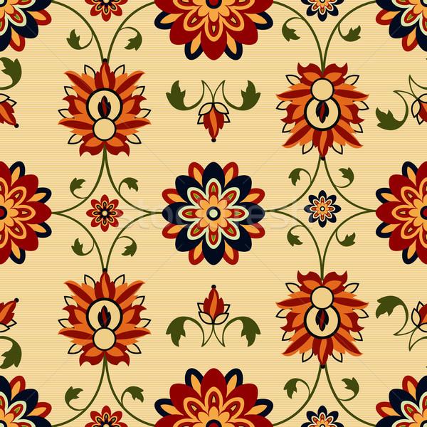 Bezszwowy kwiatowy adamaszek projektu wzór liści Zdjęcia stock © lirch