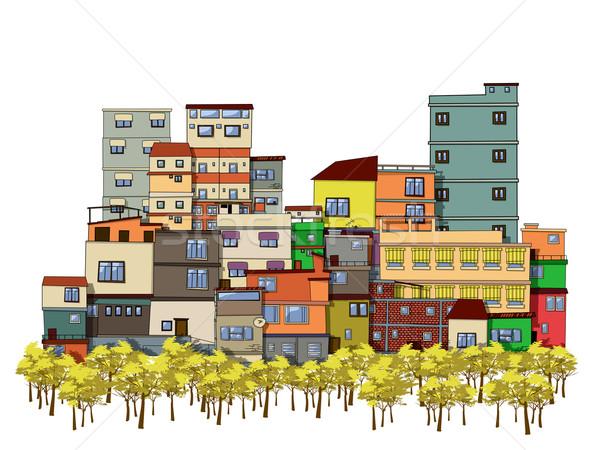 Cartoon stad tekening bomen huizen muur Stockfoto © lirch