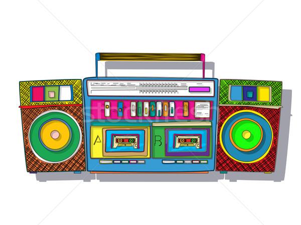 Pop-Art Jahrgang Stereo Double Band Kassette Stock foto © lirch