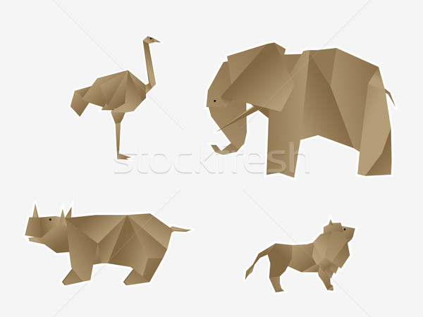 Animaux sauvages origami comme papier design Photo stock © lirch