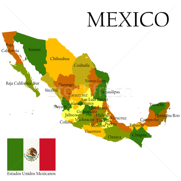 Mercator map of Mexico and flag Stock photo © lirch