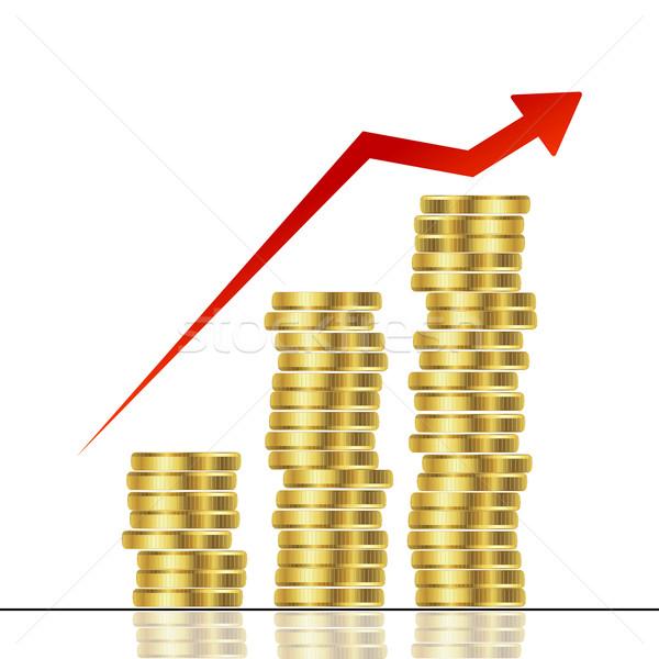 Statistisch grafische gouden munten achtergrond markt Stockfoto © lirch