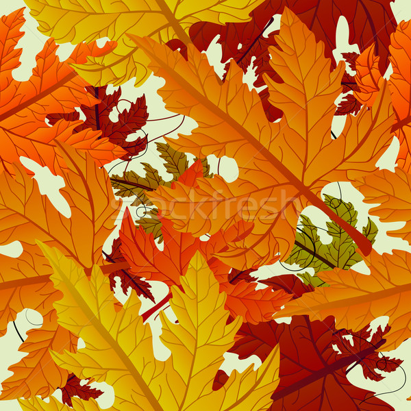 Stock photo: Autumn background, seamless tile with maple leaves