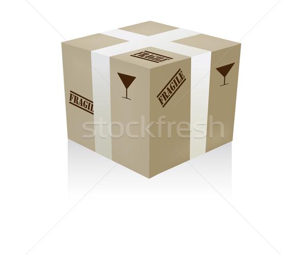 Fragile boîte illustration livraison avertissement peint Photo stock © lirch