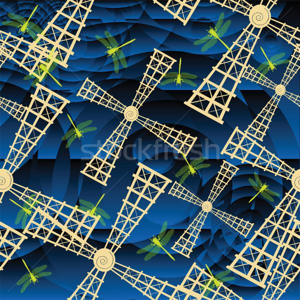 風車 トンボ 定型化された 青 パターン ストックフォト © lirch