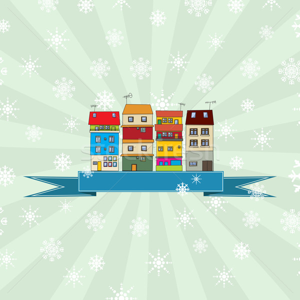 Winter holidays card with houses 3 Stock photo © lirch