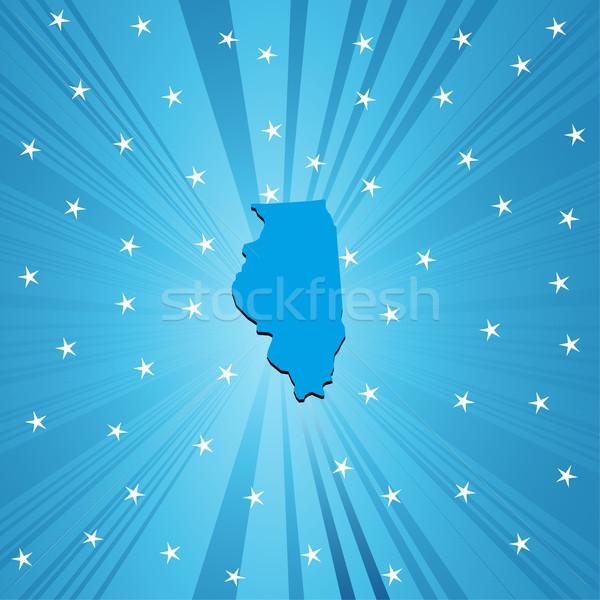Mavi harita Illinois soyut şehir arka plan Stok fotoğraf © lirch