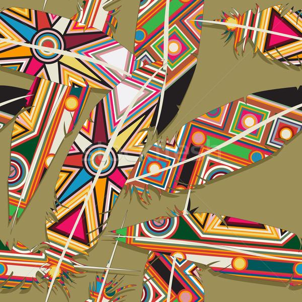 Ikat feather pattern 10 Stock photo © lirch
