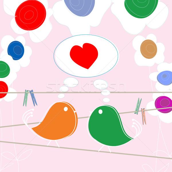 Stock fotó: Szeretet · nyilatkozat · kártya · rajz · szív · madár